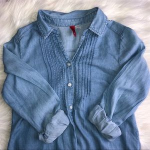 Denim Shirt with Ruffles